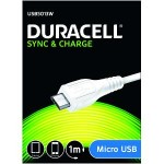 Duracell 1m USB - microUSB 1m USB A Micro-USB A Male Male White USB cable